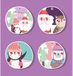 happy merry christmas tags set vector image
