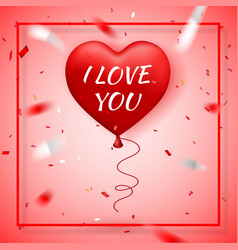 happy valentines day red balloon in form heart vector image