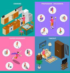 housewife isometric design concept vector image