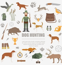 Hunting icon set Dog hunting equipment Flat style vector image