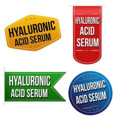 Hyaluronic acid serum sticker or label set vector