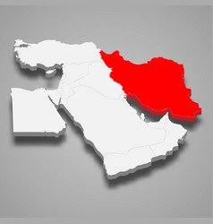 Iran country location within middle east 3d map vector