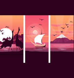 japanese landscape sunset vector image