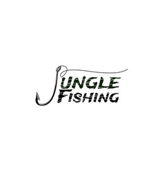 jungle nature fishing bait logo design vector image
