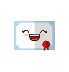 Kawaii certificate icon vector