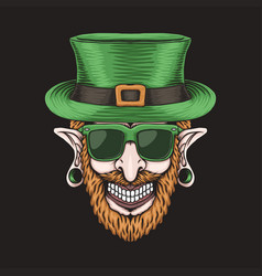 Leprechaun piercing head st patricks day vector