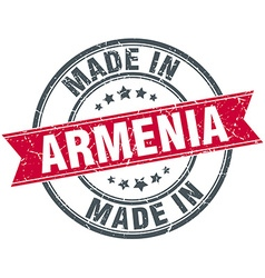 Made in Armenia red round vintage stamp vector