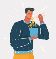 man holding chopsticks and eat noodle vector image