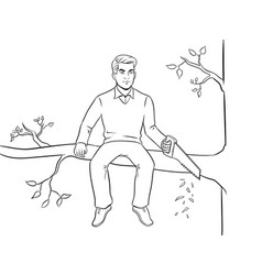 Man sawing tree branch and sit coloring vector