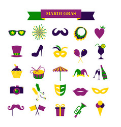 mardi gras set of icons isolated on white vector image