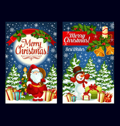 merry christmas santa gifts greeting card vector image