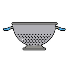 Metal kitchen strainer cooking element icon vector