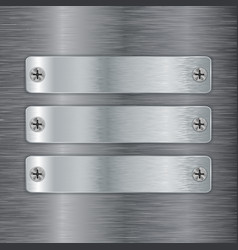 Metal plate with screw head on brushed steel vector