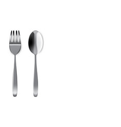mock up realistic metal spoon and fork on dining vector image