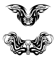 Motorcycles mascots with tribal flames vector