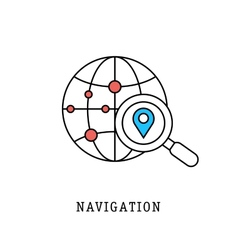 Navigation and geolocation thin flat lines vector