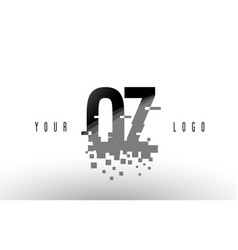 oz o z pixel letter logo with digital shattered vector image