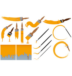 Paintbrushes and yellow paint vector