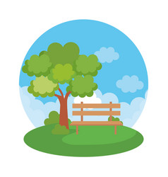 Park landscape with chair scene vector