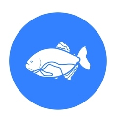 Piranha fish icon black Singe aquarium fish icon vector