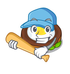 Playing baseball egg scotch cartoons are ready vector