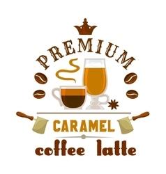 Premium coffee latte caramel icon vector