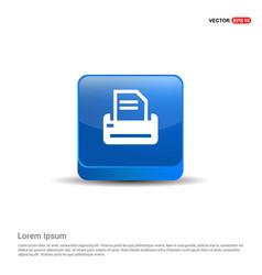 printer icon - 3d blue button vector image