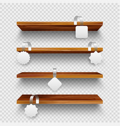 realistic wooden store shelves supermarket vector image