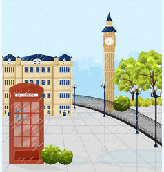 Red phone booth in london summer vector