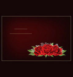 Red rose flower bouquet on dark burgundy vector
