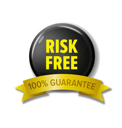 Risk free label in black and yellow colors vector