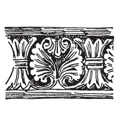 Romanesque motive beginning date vintage engraving vector