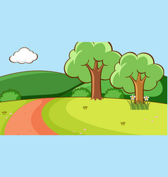 Scene with trees and road on hill vector
