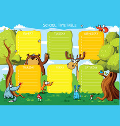 school timetable forest animals vector image