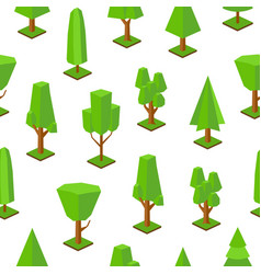 seamless pattern with low poly trees of various vector image