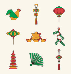 set of chinese symbols and vector image