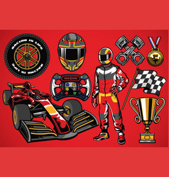 Set of high detailed formula racing car element vector