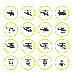 set round icons helicopters vector image