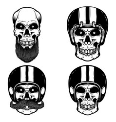 set skulls in biker helmet design element vector image