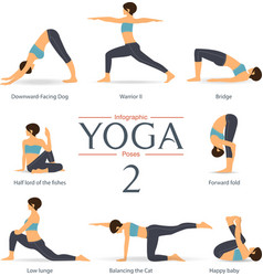set yoga poses infographic in flat design vector image