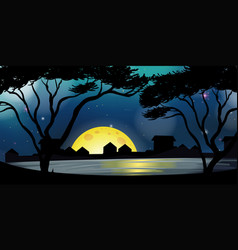 Silhouette scene with city at night time vector