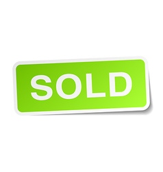 Sold green square sticker on white background vector