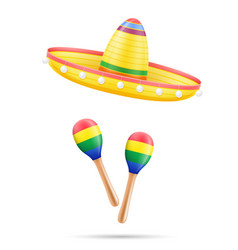 sombrero national mexican headdress and maracas vector image