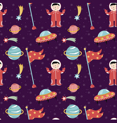 Space discover pioneers seamless pattern vector