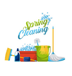 Spring cleaning products and accessories icons vector