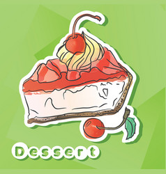 sticker with cherry pie vector image