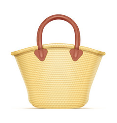 Straw shopping bag vector