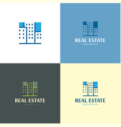 three buildings real estate logo and icon vector image