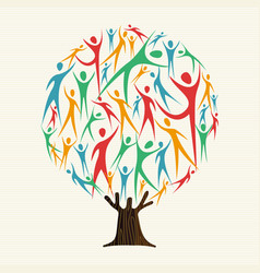 Tree of people shapes for community team concept vector