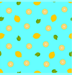 tropical fruits lemon seamless pattern background vector image